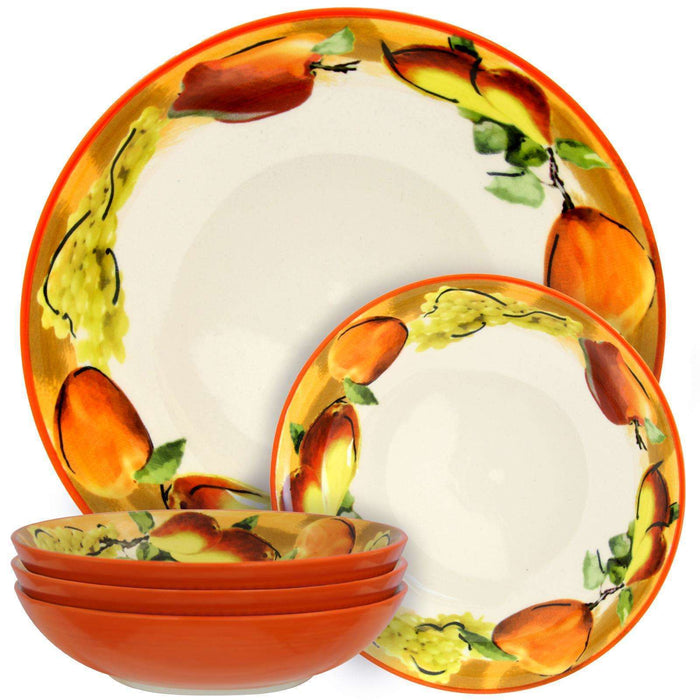 Elama Fruitful Bounty 5 Piece Pasta Serving Bowl Set