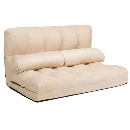 Foldable Floor 6-Position Adjustable Lounge Couch-Beige