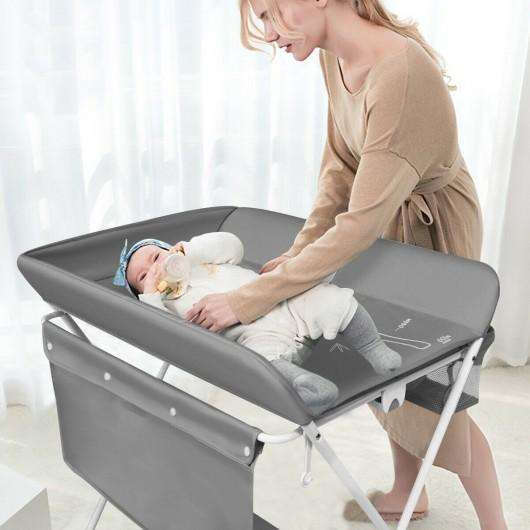 Folding Baby Changing Table with Storage -Gray