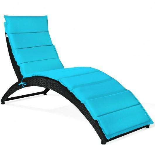 Folding Patio Rattan Portable Lounge Chair Chaise with Cushion-Turquoise