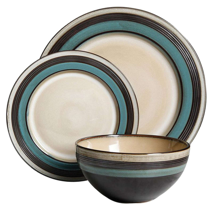 Gibson Everston 12-Piece Dinnerware Set in Teal