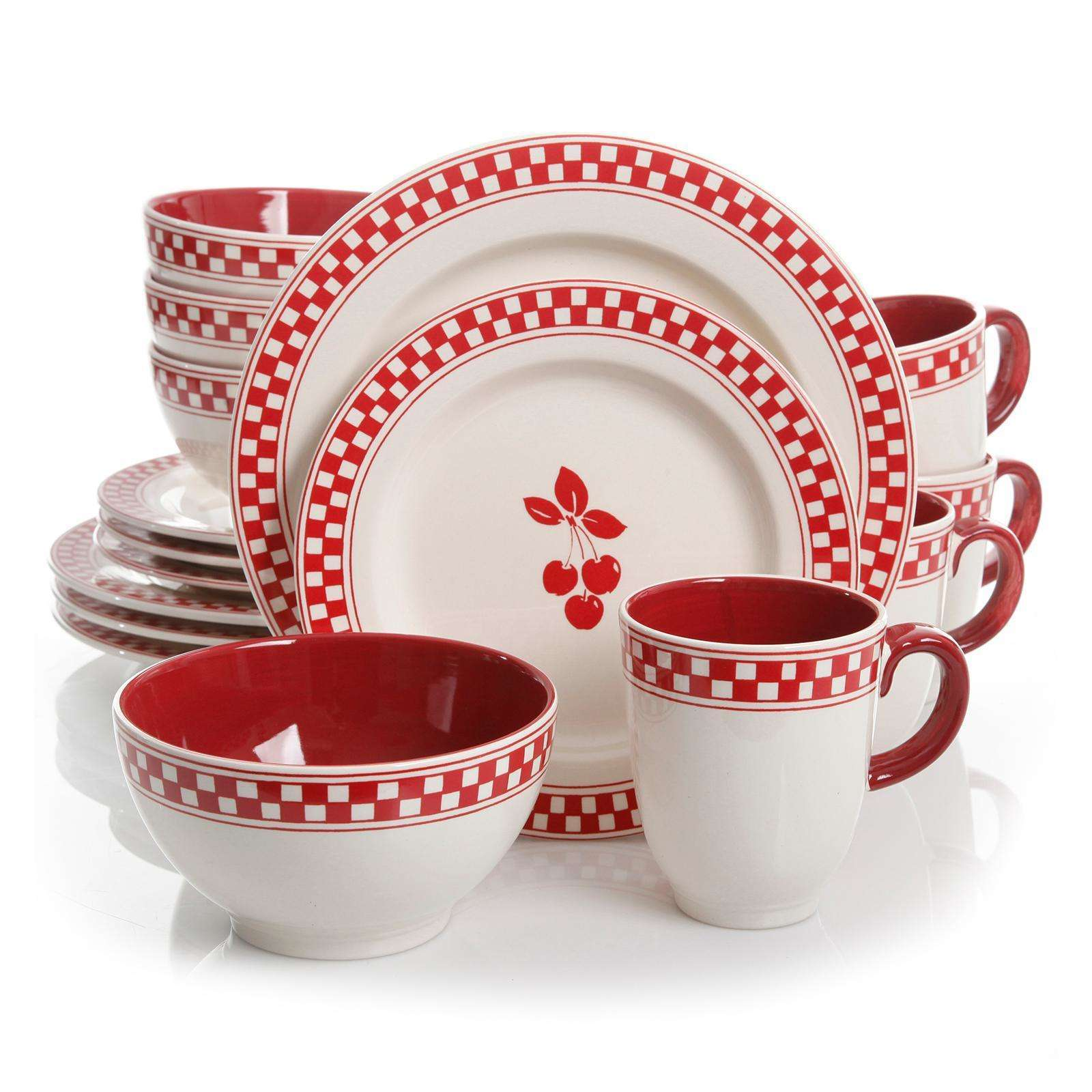 Gibson General Store 16 Piece Cherry Diner Ceramic Dinnerware  Set
