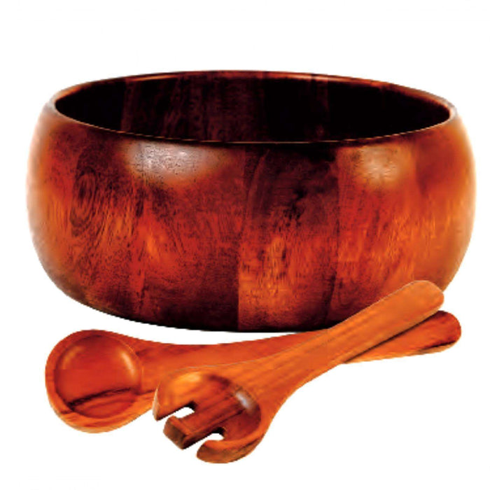 Gibson Home Laroda 3-Piece Salad Bowl Set, Brown Wood