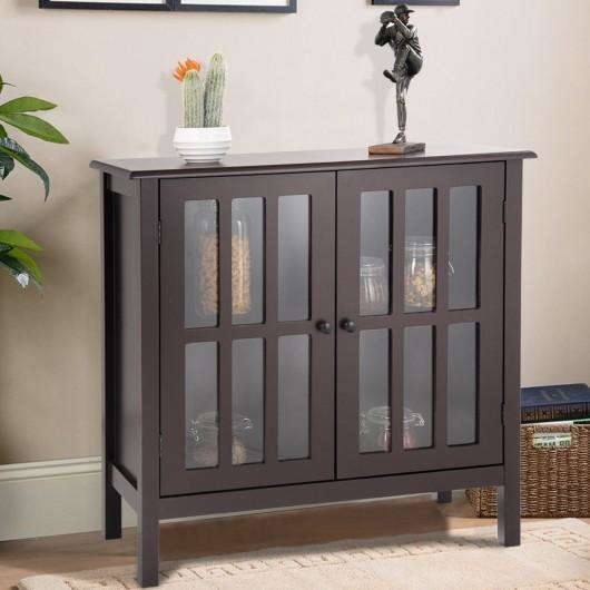 Glass Door Sideboard Console Storage Buffet Cabinet-Brown