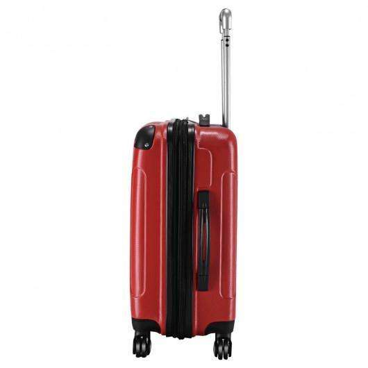 "GLOBALWAY Expandable 20"" ABS Carry On Luggage Travel Bag Trolley Suitcase-Red"