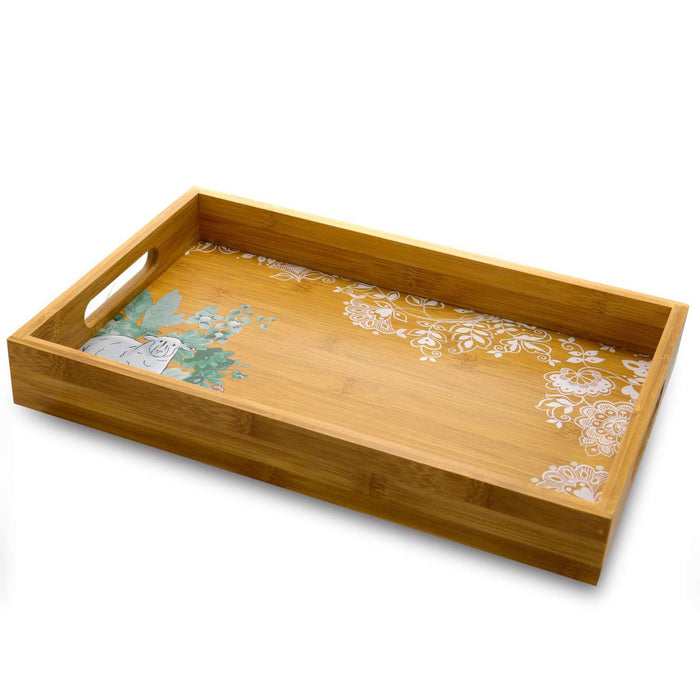 Life on the Farm 15 Inch Square Bamboo Serving Tray