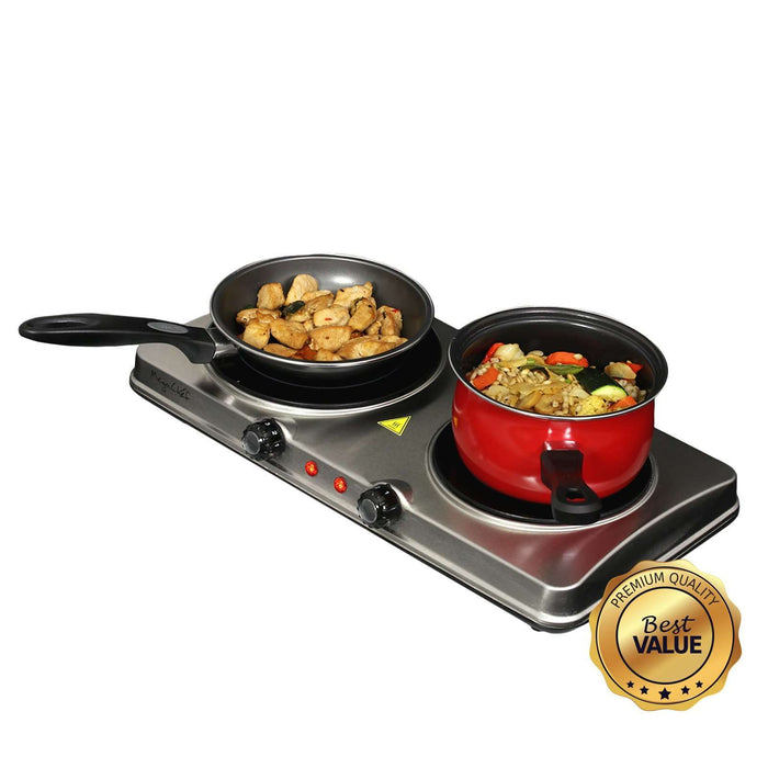 MegaChef Electric Easily Portable Heavy Duty Lightweight Dual Size Infrared Burner Cooktop Buffet Range in Sleek Steel - Reconditioned
