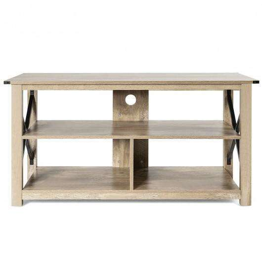 "Modern Farmhouse TV Stand Entertainment Center for TV's up to 55"" with Open Shelves"