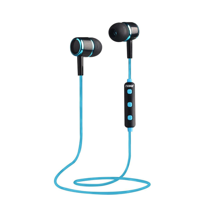 Naxa NE-950 Bluetooth Isolation Earphones with Microphone & Remote - Blue-Black