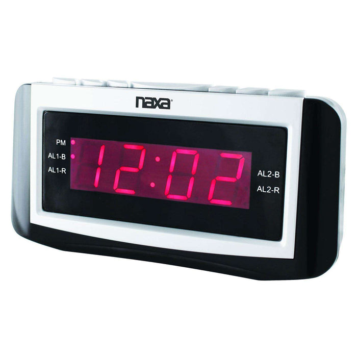 Naxa PLL Digital Alarm Clock with AM-FM Radio, Snooze & Large LED Display