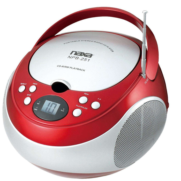 Naxa Portable CD Player with AM-FM Stereo Radio- Red