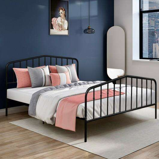 Queen Size Metal Bed Frame Steel Slat Platform