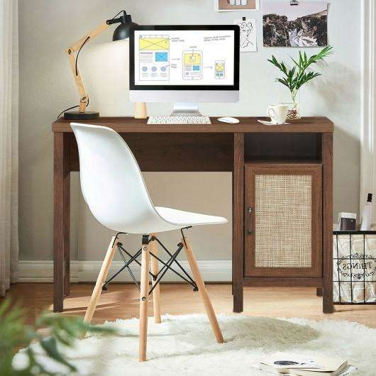 Rustic Computer Desk Writing Table Study Workstation with Storage Cabinet-Walnut