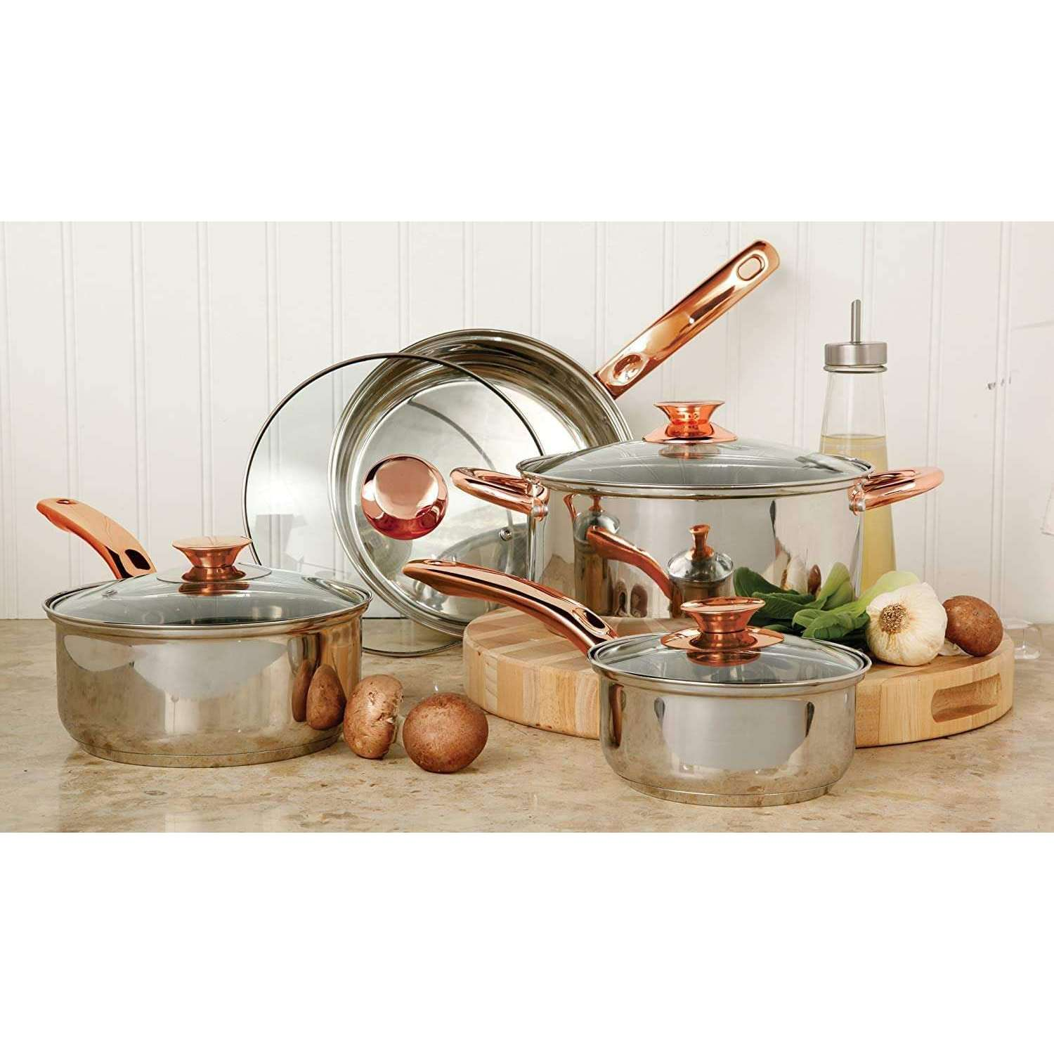 Sunbeam Ansonville 8-Piece Cookware Set, Silver/Brass