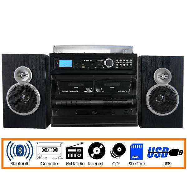 Trexonic 3-Speed Vinyl Turntable Home Stereo System with CD Player, Dual Cassette Player, Bluetooth, FM Radio & USB-SD R