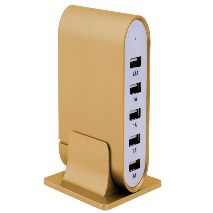 Trexonic 7.1 Amps 5 Port Universal USB Compact Charging Station in Gold Finish