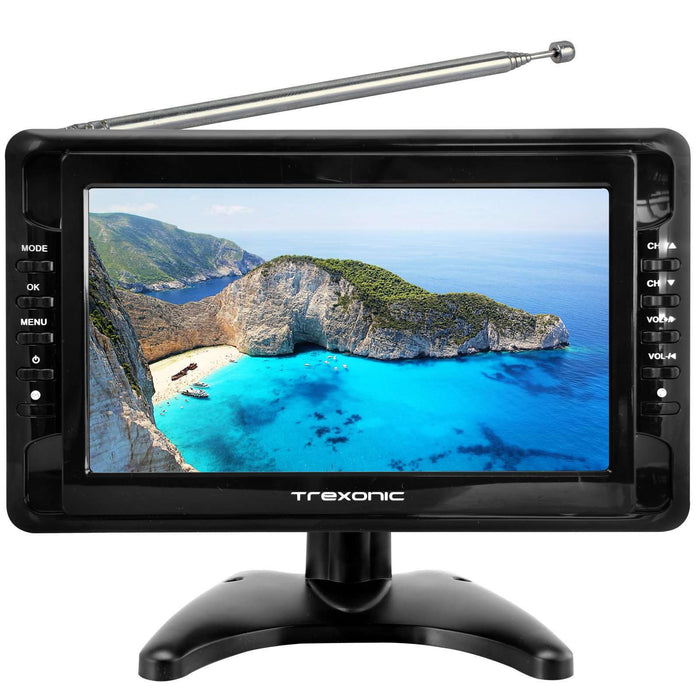 "Trexonic Portable Ultra Lightweight Rechargeable Widescreen 10"" LCD TV with SD, USB, Headphone Jack, AV Inputs and Detachabl - Reconditioned"