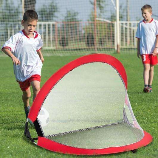 Two Pop Up Soccer Goal Set Foldable Training Football Net-4'