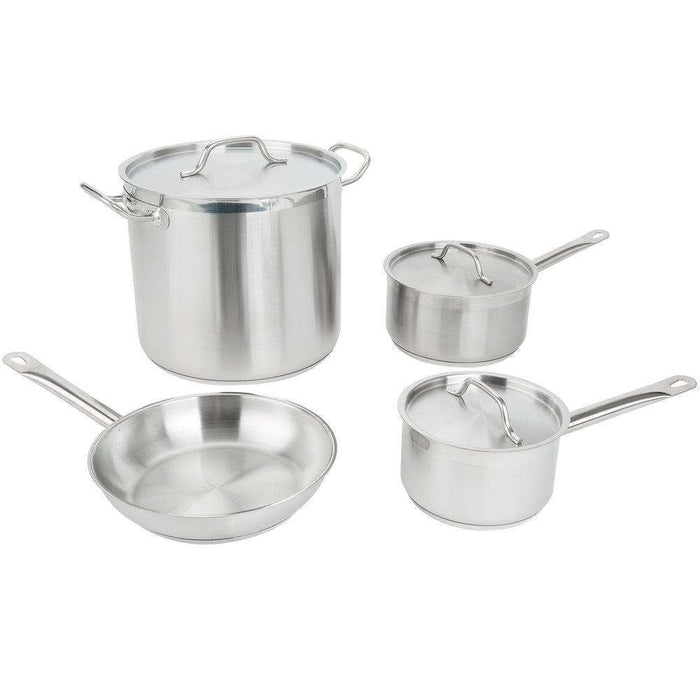 Vigor 7-Piece Stainless Steel Induction Ready Cookware Set with Stock Pot