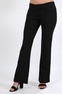 Extended Waistband Bootcut Leg Plain Trousers in Black 0