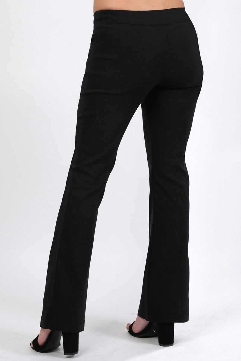 Extended Waistband Bootcut Leg Plain Trousers in Black 1