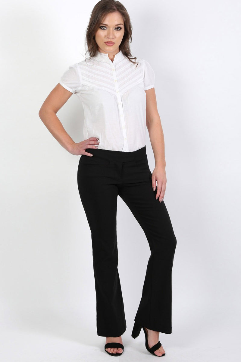 Extended Waistband Bootcut Leg Plain Trousers in Black 2