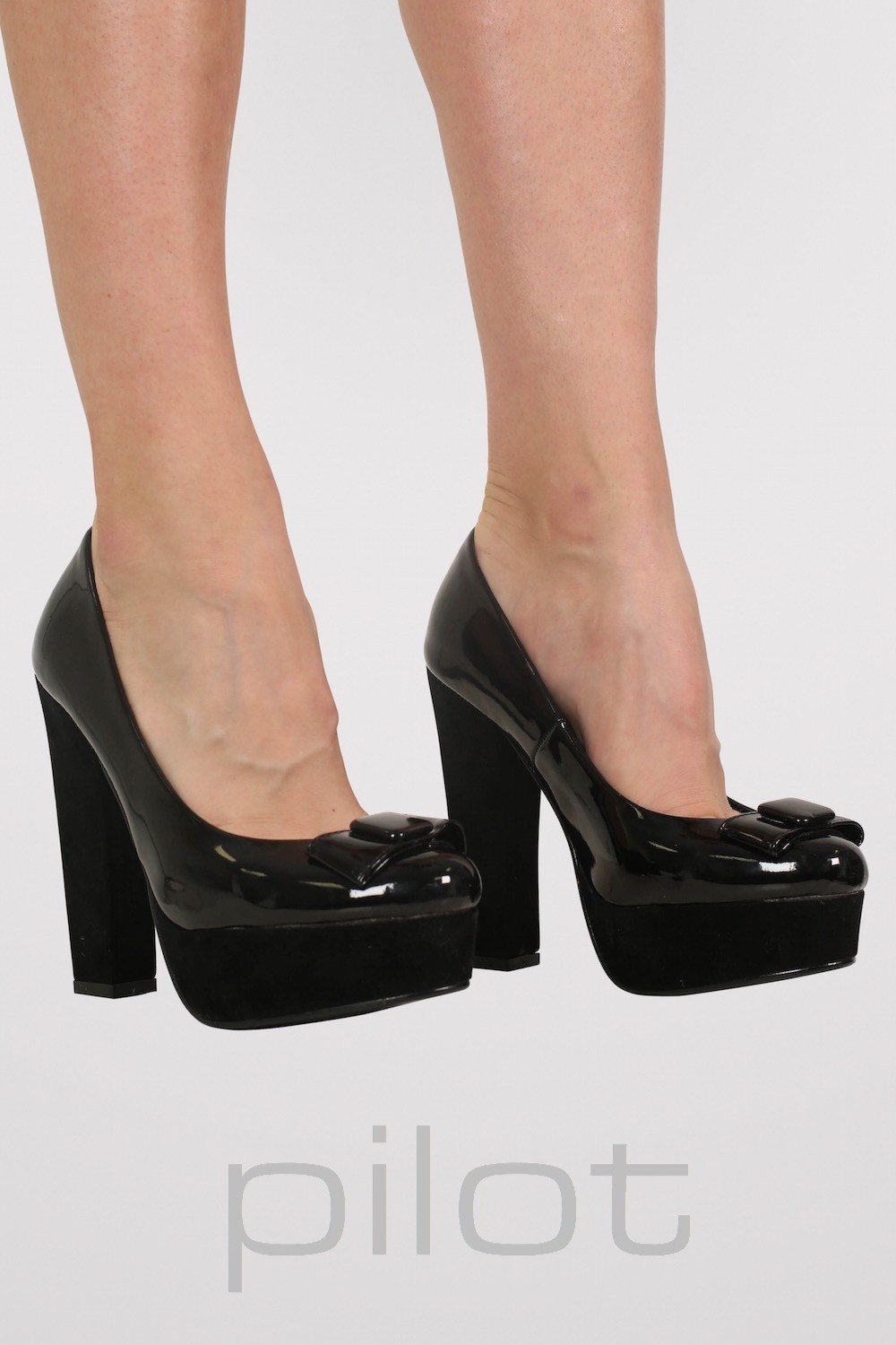 Bow Detail Platform Court Shoes in Black 0