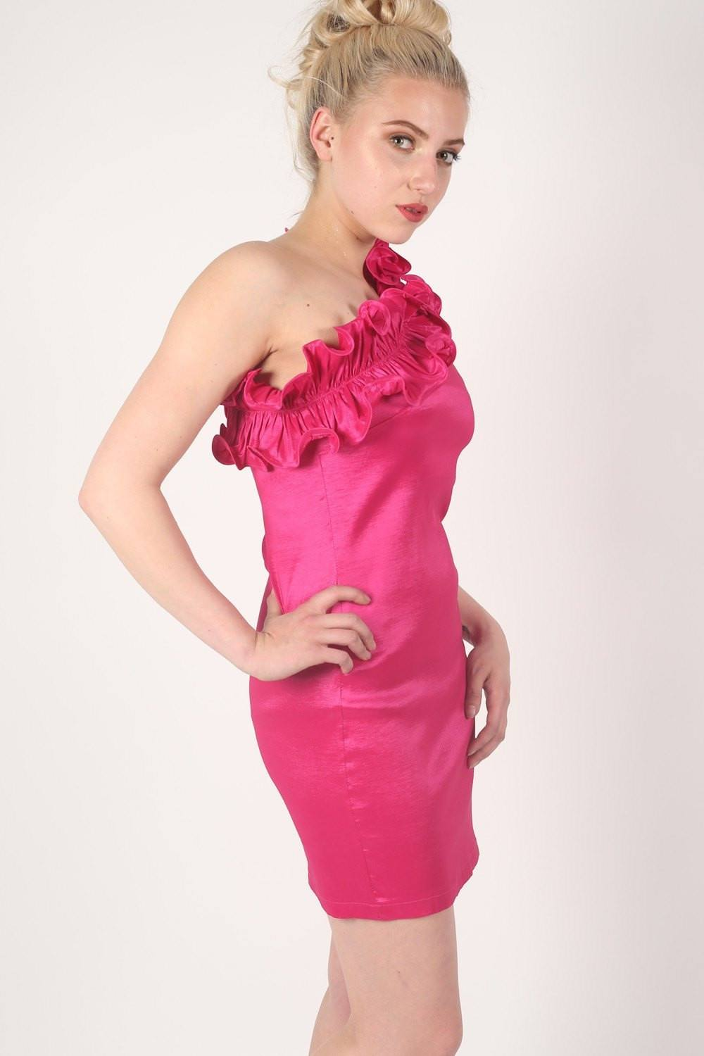 One Shoulder Frill Detail Dress in Pink 0