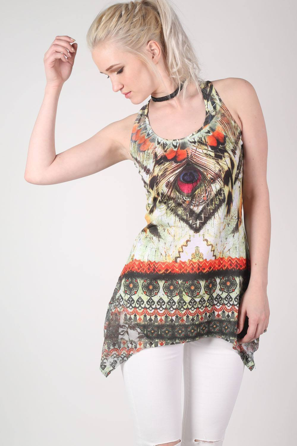 Aztec Print Hanky Hem Vest Top in Multi Colour 0