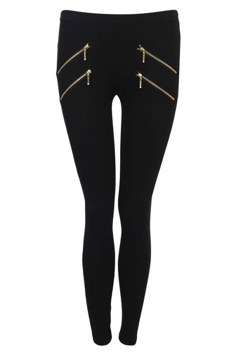 4 Zip Detail Leggings in Black 2