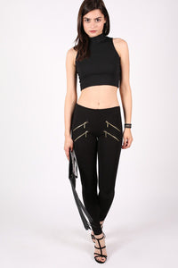 4 Zip Detail Leggings in Black 0