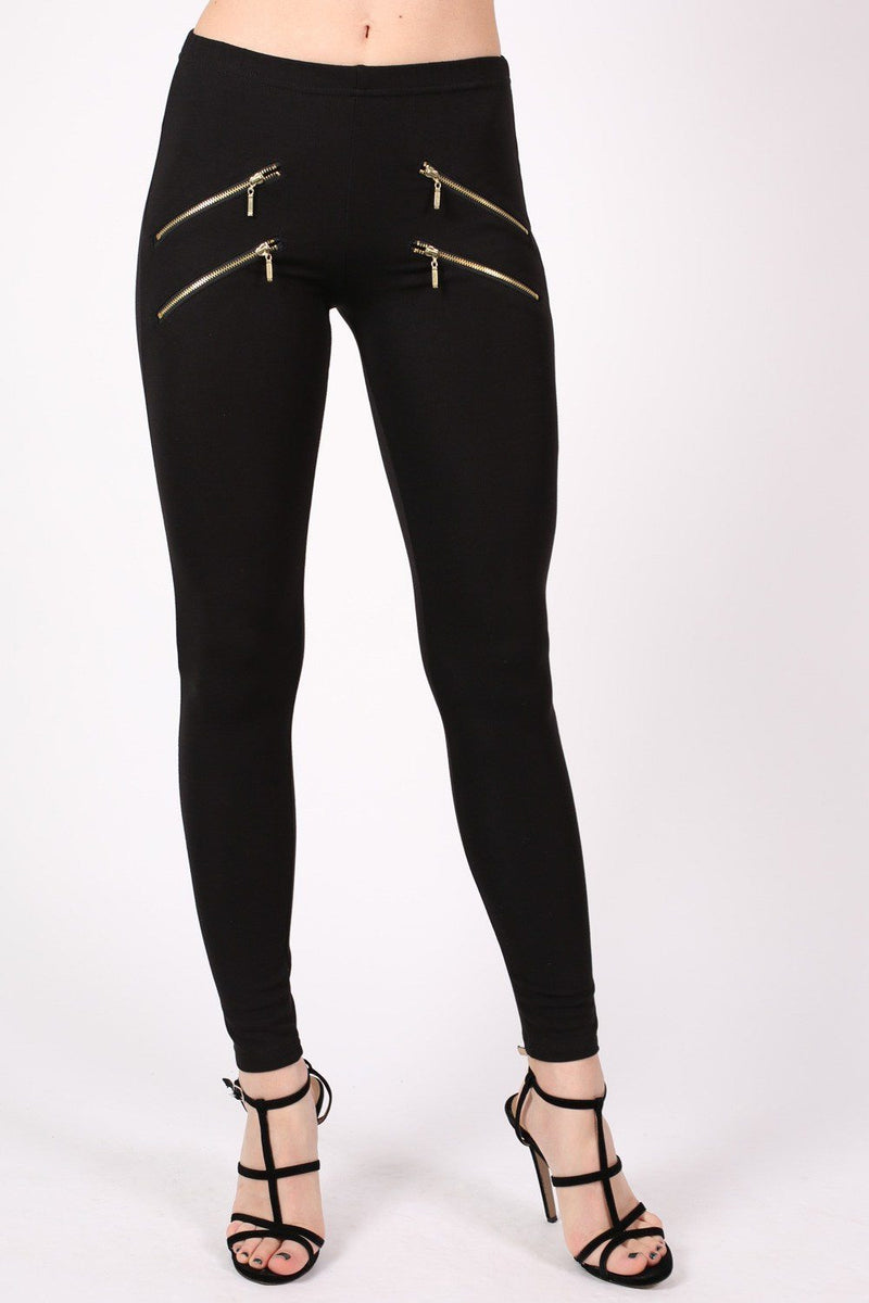 4 Zip Detail Leggings in Black 1