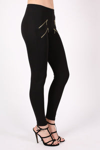 4 Zip Detail Leggings in Black 3