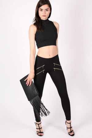 4 Zip Detail Leggings in Black 5