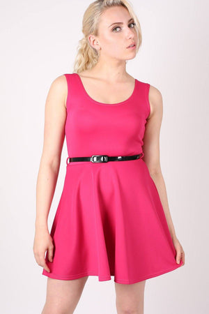 Sleeveless Belted Skater Dress in Pink Cerise 0