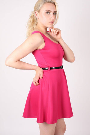 Sleeveless Belted Skater Dress in Pink Cerise 1