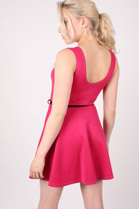 Sleeveless Belted Skater Dress in Pink Cerise 3