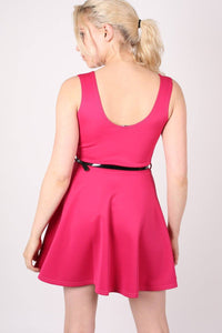 Sleeveless Belted Skater Dress in Pink Cerise 4