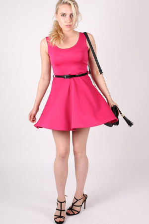 Sleeveless Belted Skater Dress in Pink Cerise 5