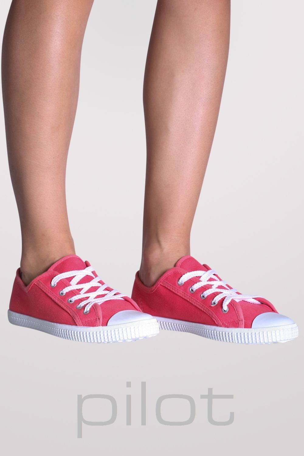 Lace Up Canvas Trainers in Coral 0
