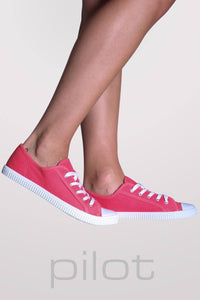 Lace Up Canvas Trainers in Coral 1