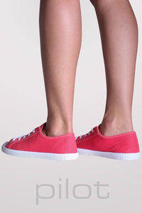 Lace Up Canvas Trainers in Coral 3