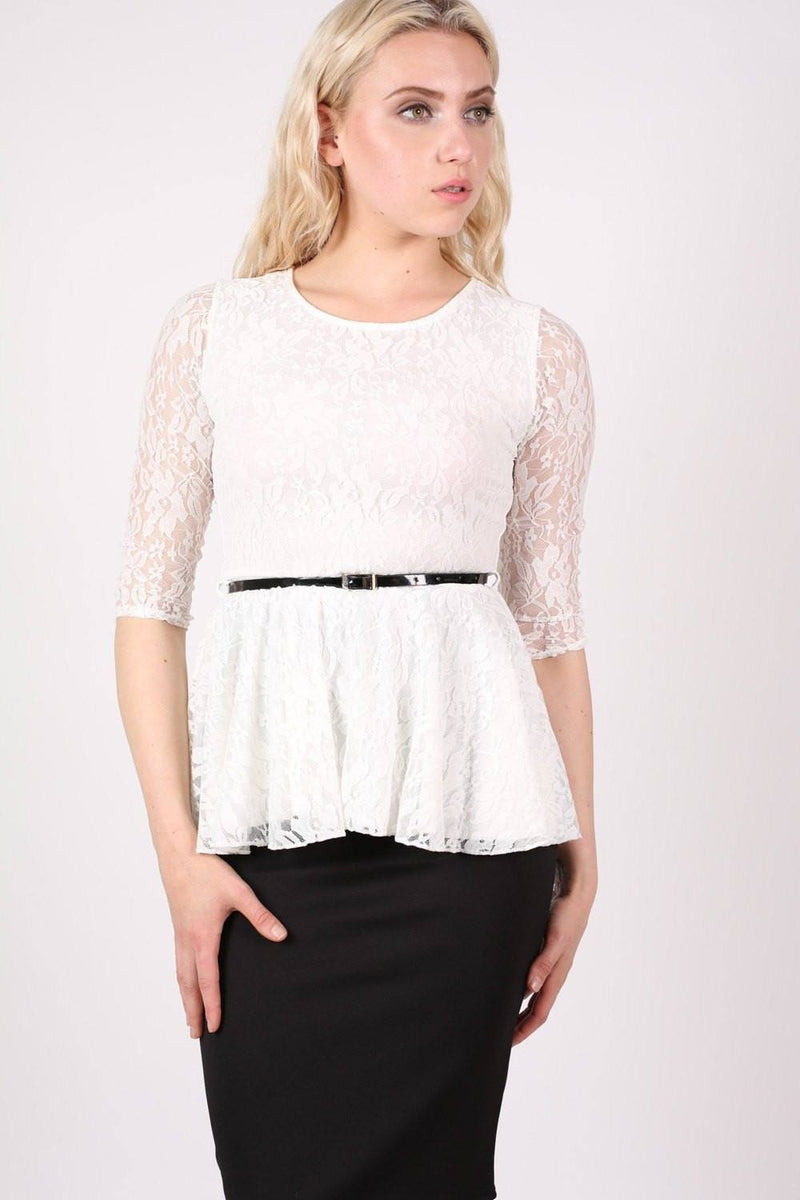 3/4 Sleeve Lace Peplum Top with Belt in Cream 0