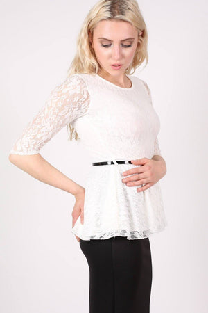 3/4 Sleeve Lace Peplum Top with Belt in Cream 1