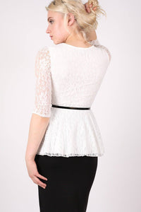 3/4 Sleeve Lace Peplum Top with Belt in Cream 3