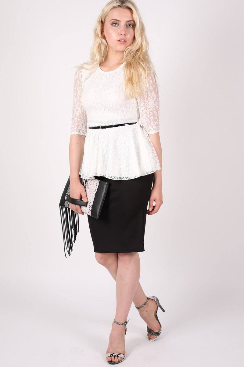 3/4 Sleeve Lace Peplum Top with Belt in Cream 4