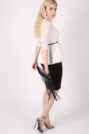 3/4 Sleeve Lace Peplum Top with Belt in Cream 5