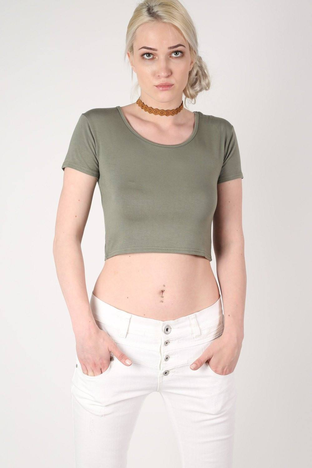 Plain Cap Sleeve Crop Top in Khaki Green 0