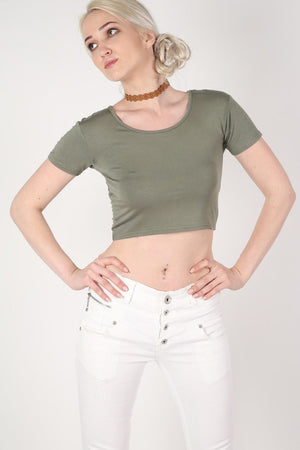 Plain Cap Sleeve Crop Top in Khaki Green 1