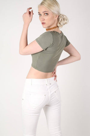 Plain Cap Sleeve Crop Top in Khaki Green 3